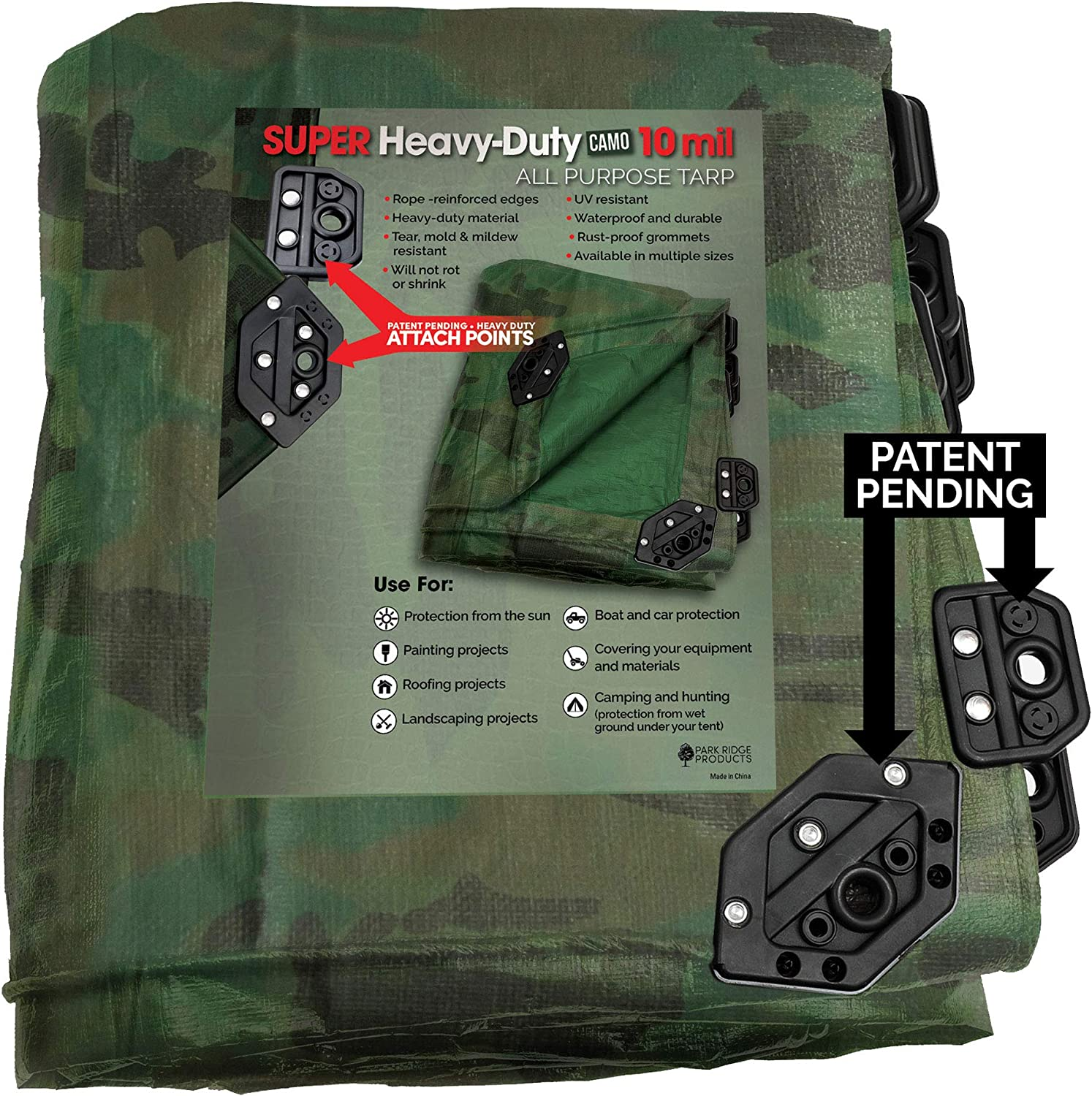 12/' X 20/' Camouflage Poly Tarp Cover Tent Shelter Camping RV Boat Tarpaulin