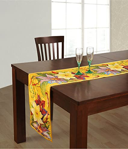 ShalinIndia Digitally Printed Yellow Floral Reversible Table Runner - 13 x 72 - Faux Silk Polyester - Made in India by ShalinIndia