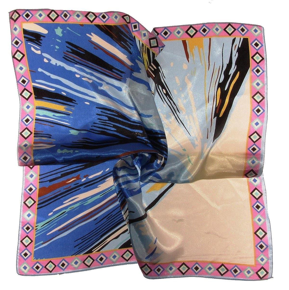 670017) Color 58 cm el cuello cuadrada de satén Laidies de seda ...
