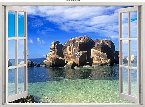 PARADISE ISLAND BEACH SEA BOAT 3D Window Canvas Wall Art W348 UNFRAMED-ROLLED