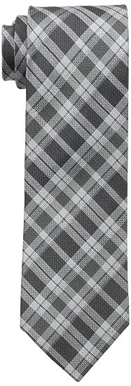 ed2f46e6cb6e Calvin Klein Men's Schoolboy Plaid Tie, Black, One Size at Amazon ...