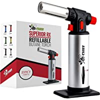 Jo Chef Kitchen Torch, Blow Torch - Refillable Butane Torch With Safety Lock & Adjustable Flame + Fuel gauge - Culinary…