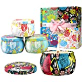 Large Size Scented Candles Gifts Sets for Women,4.4oz Travel Tin Aromatherapy Soy Candle with Gardenia,Jasmine and Lavender F