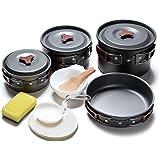 ODOLAND Set di pentole, piatti e utensili da campeggio da 3a 5persone, 14 in 1, ideale per barbecue, campeggio, arrampicata
