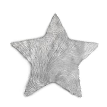Star Small Light Grey playroom Soft Silky Fake Fur Area Rug Nursery Perfect Babys Room Machine Washable Faux Sheepskin Light Grey Star Rug 2 x 2