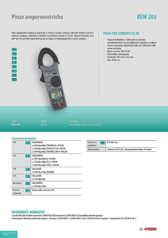 continuidad Gris tensioni AC//DC Kyoritsu Kew 203/Pinza amperim/étrica digital compacta para la tama/ño de corriente AC//DC resistencia