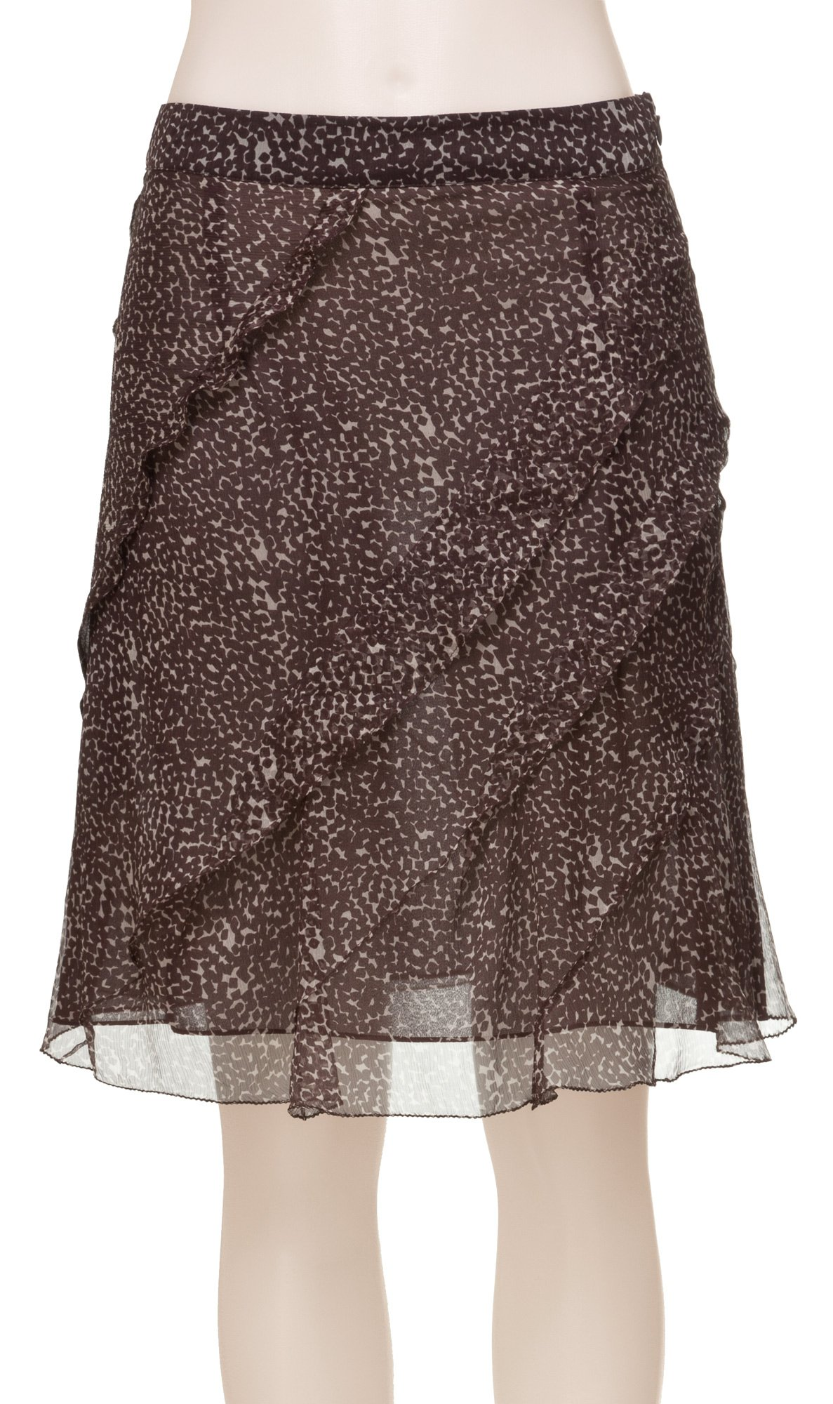 MAXSTUDIO Silk Chiffon Skirt - 2108Y12-DKBRNKBL-6