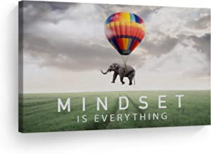 Smile Art Design Mindset is Everything Quote Elephant with Balloon in Sky Motivational Wall Art Canvas Print Inspirational Wall Art Entrepreneur Quote Office Decor Artwork Gift Ready to Hang 8x12