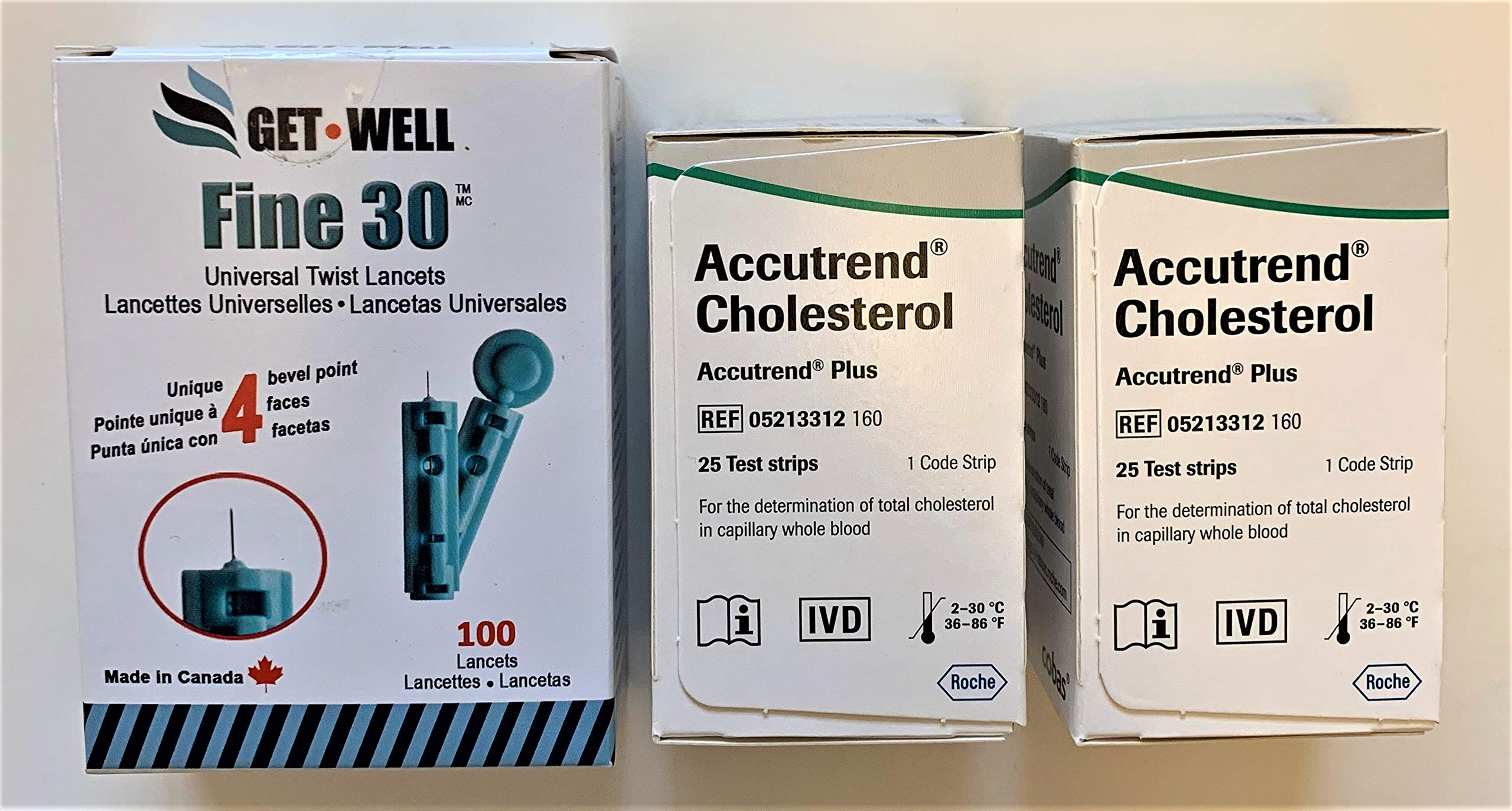 GET•WELL Fine 30g Universal Twist Lancets 100 Ct. - Made in Canada ! Unique Quad Bevel Tip Offers Quick Healing & Less Pain ! 50 Ct. Accutrend Plus Cholesterol Test Strips