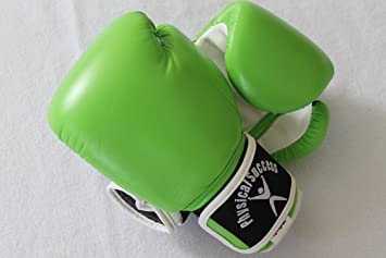 neon color boxing gloves for kids in the color green 2oz