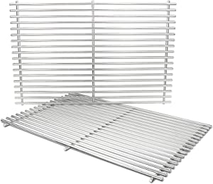 Grisun 7528 Cooking Grates for Weber Genesis 300, 19.5 Inch 304 Stainless Steel Solid Rod Grates Grids Replacement for Genesis E310 E320 E330 S310 S320 S330 EP310 EP320 Gas Grills, 7524 (19.5 x 12.9)