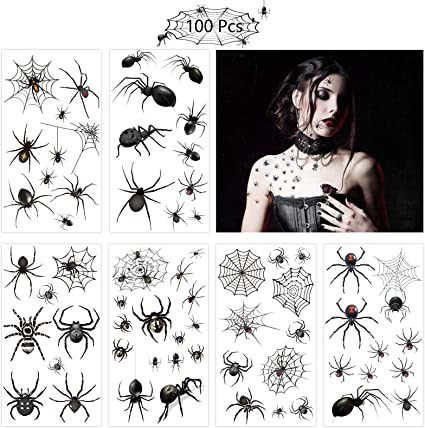 ZERHOK Tatuajes Temporales Arañas,12 hojas Calcamonias para Niños ...