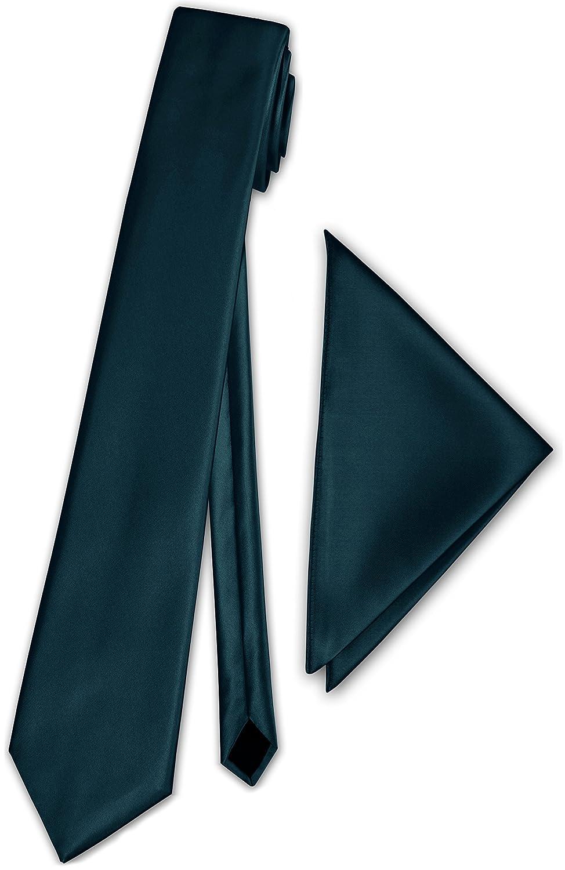 PABLO CASSINI (Fliegen) Schmale dünne Satin Krawatte + Einstecktuch + Geschenkkarton - 40 Farben zur Auswahl (Dunkel Petrol) PC_Slim-Box-7