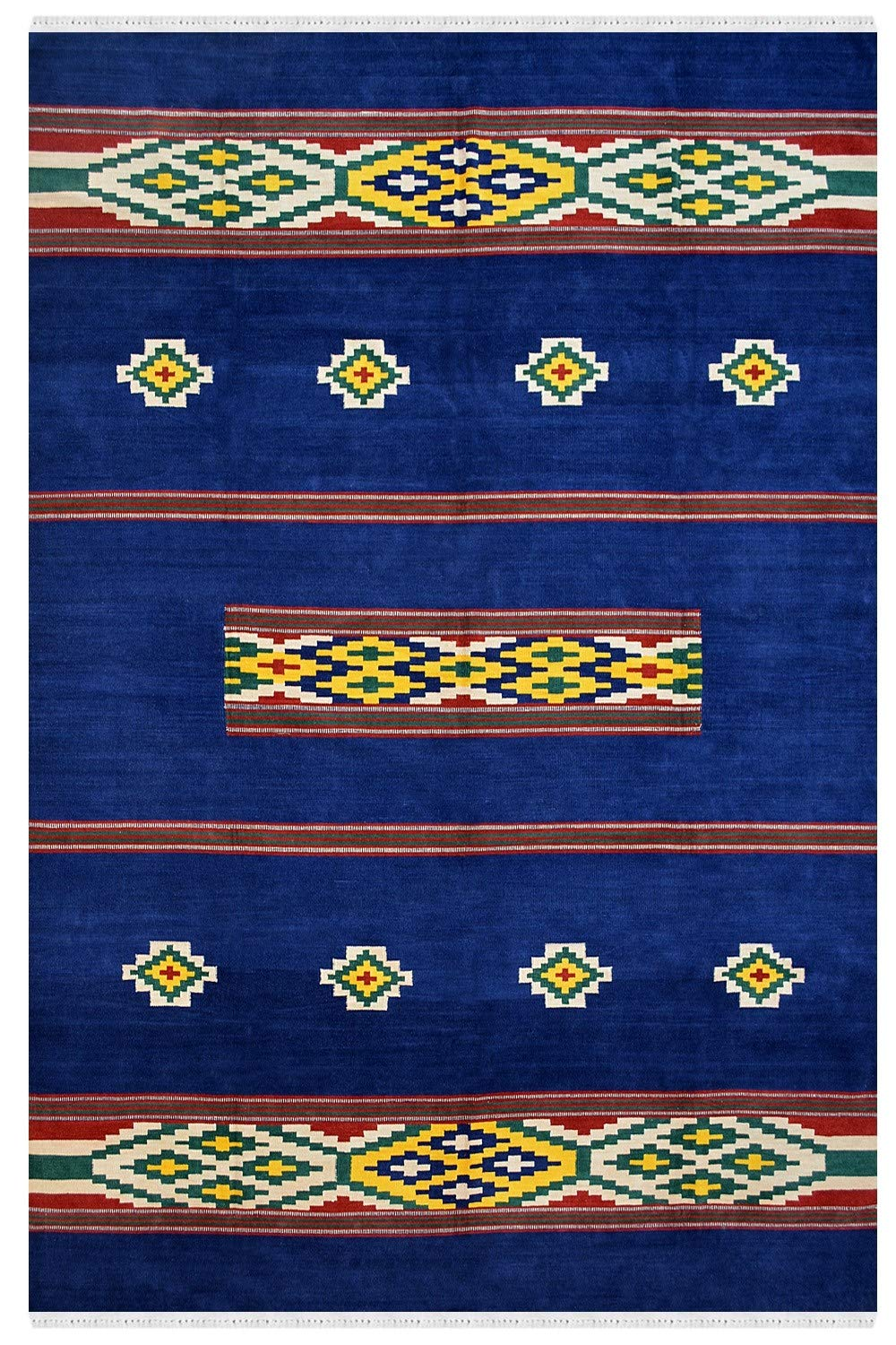 Rugs & Beyond Reversible Dhurry Flat-Woven Handmade Diamond Stripe Contemporary Design Dhurries Wool & Cotton Material Dark Blue Pink Color Long Lasting 100% Hand Washable (Blue, 7.1Ft by 10Ft)
