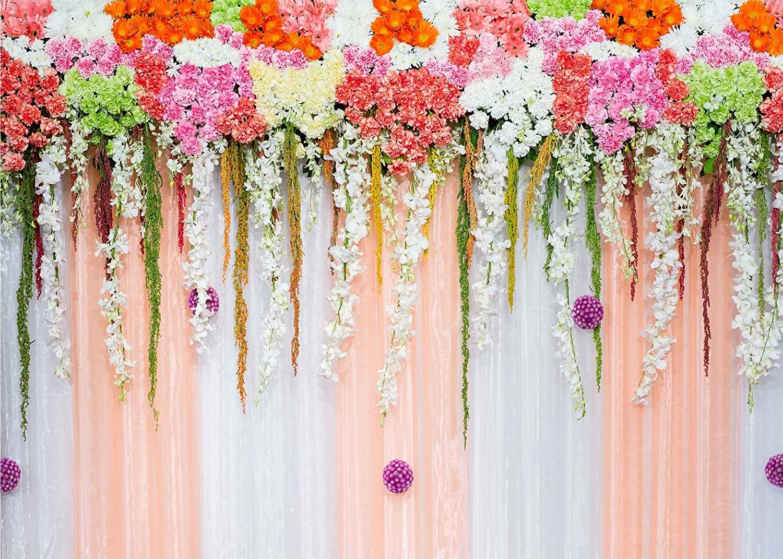 GoHeBe 7X5ft Flowers Backdrop Flower Curtain Curtain Wedding Theme Photography Backdrop Photo Backdrops Customized Studio Photography Backdrop Background Studio Props LYLX419