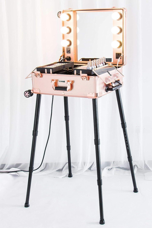 Kemier 頑丈な化粧ケースプロ アーティスト スタジオ化粧列車4つ ローリングホイール&ライト付きテーブル&ミラープロ メイクアップステーションカバーボードと簡単にきれいな拡張トレイ調整可能な足 腰椎クッション-2412 ローズゴールド B07CTGSDH9