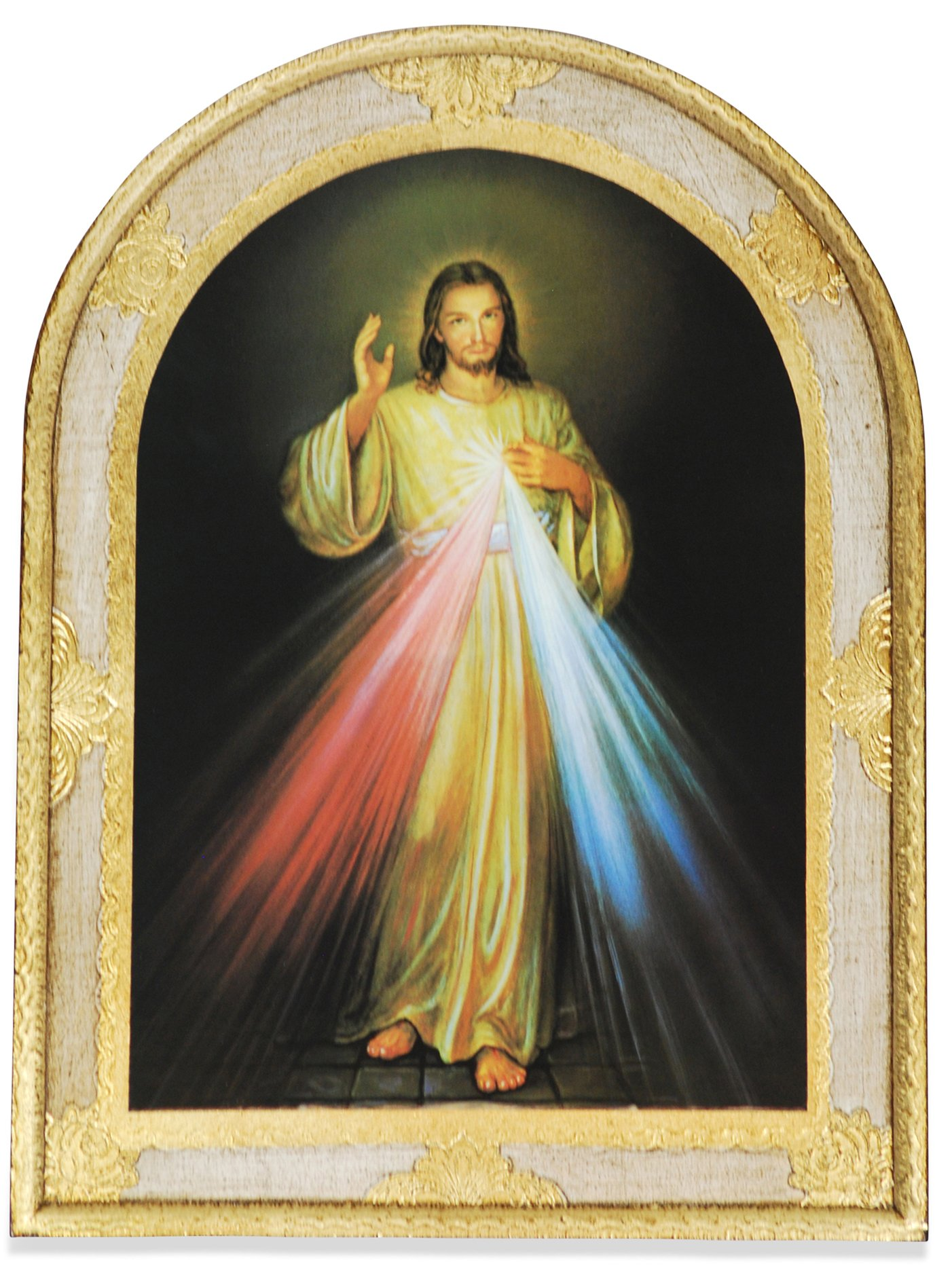 Divine Mercy Large Wall Panel with Gold Leaf Border and Wall Hook - Made in Italy by Vatican Arts