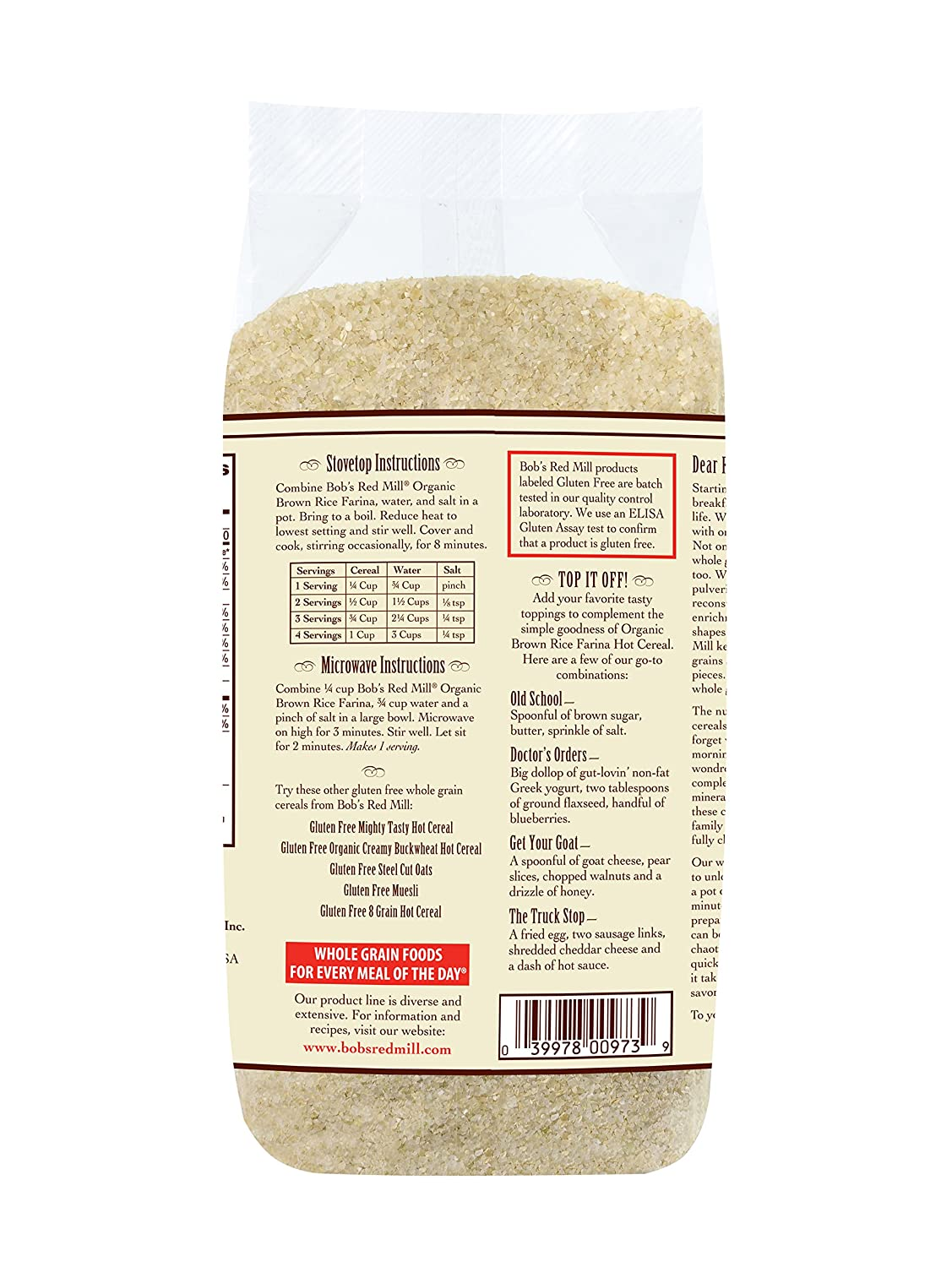 Amazon: Bob's Red Millanic Brown Rice Farina Creamy Rice Hot  Cereal, 26 Ounce Bags (pack Of 4):