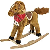 Best Choice Products Rocking Horse Plush Brown with Sound