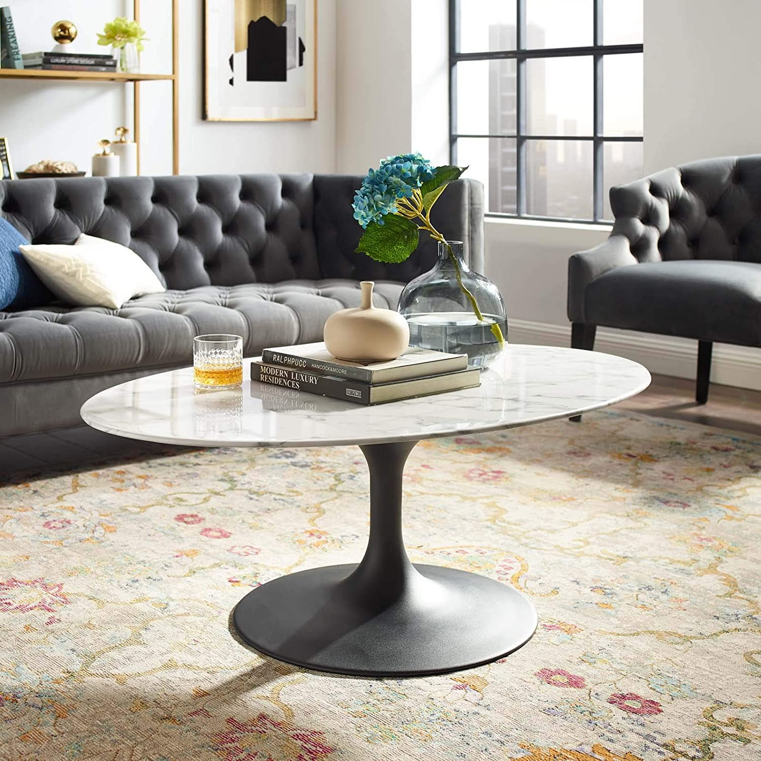 modway lippa mid century modern 42 oval artificial marble coffee table in black white