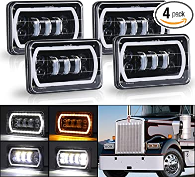 semi truck kenworth lights wiring diagram amazon com movotor off road 4x6 led headlights with white yellow  movotor off road 4x6 led headlights
