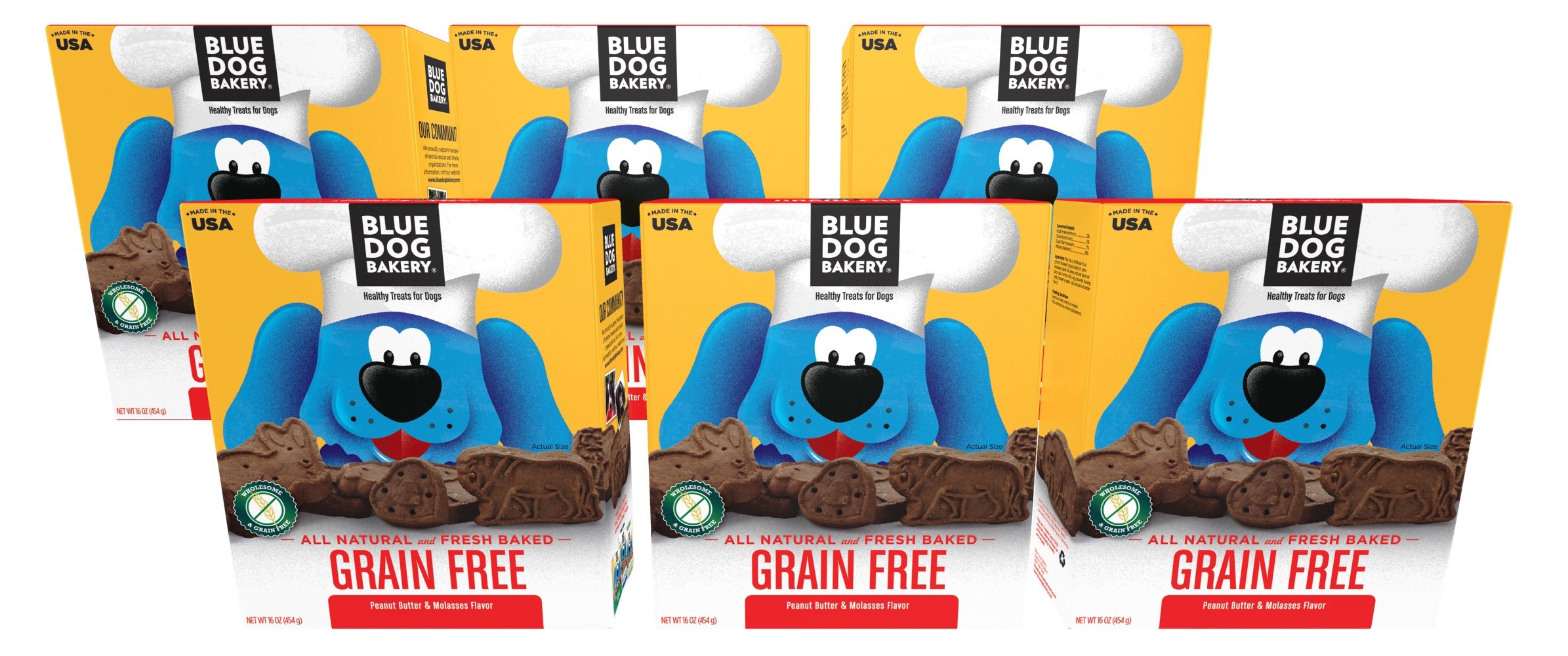 Blue Dog Bakery | Grain-Free Dog Biscuits | All-Natural | Peanut Butter & Molasses | 16oz (Pack of 6)