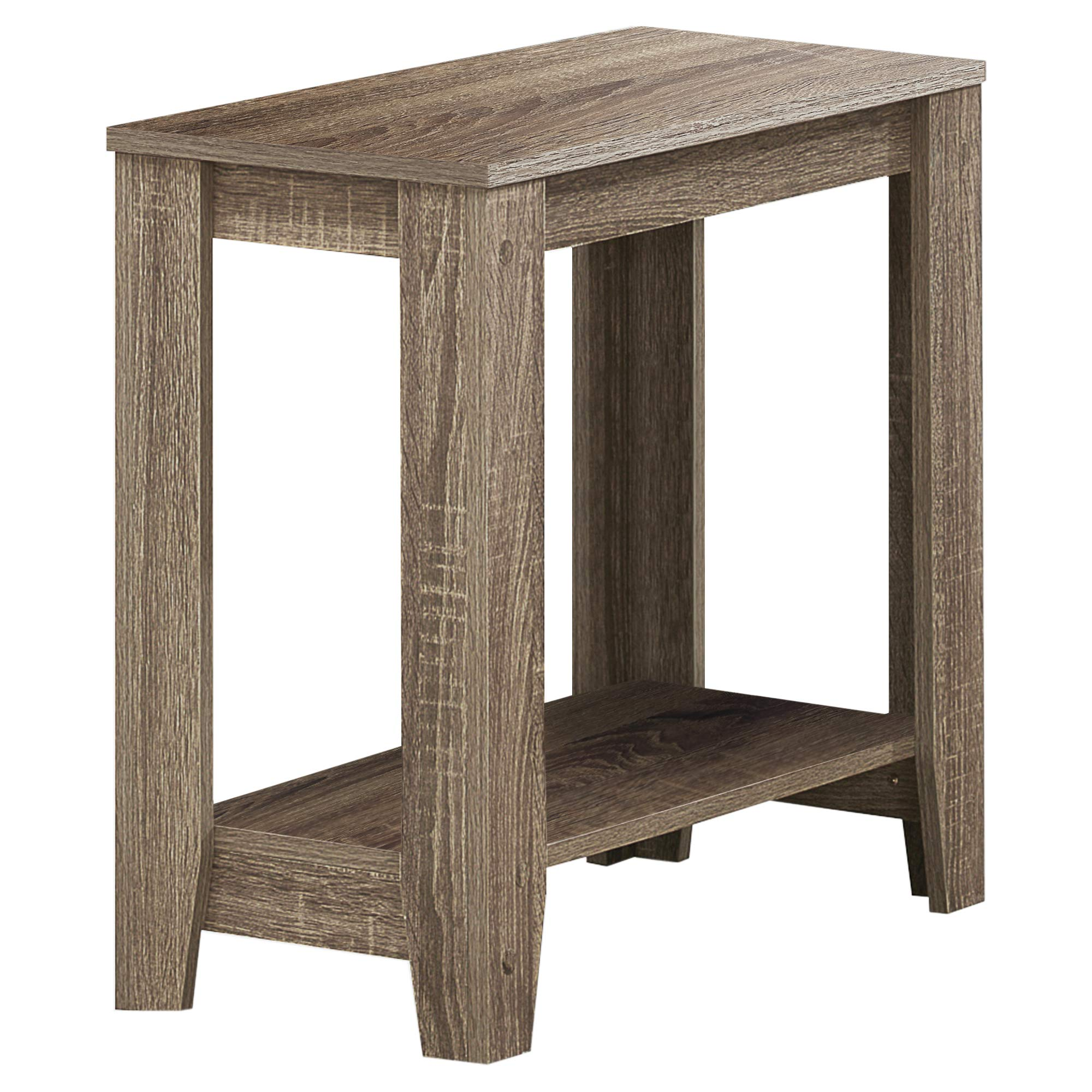 Monarch Specialties I I 3115 Accent End Side Lamp Table with Shelf, 24'' x 12'' x 22'', Dark Taupe