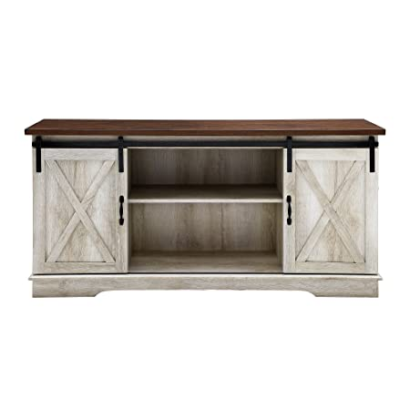 Home Accent Furnishings New 58 Inch Sliding Barn Door Television Stand – White Oak Finish with Dark Top