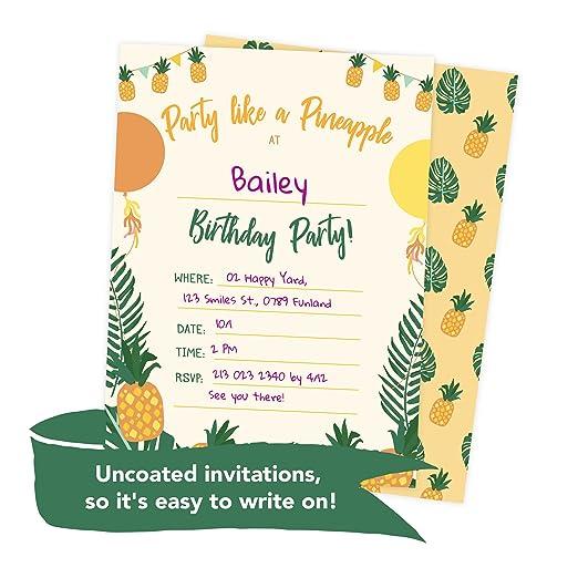 Amazon Pineapple Style 1 Happy Birthday Invitations Invite