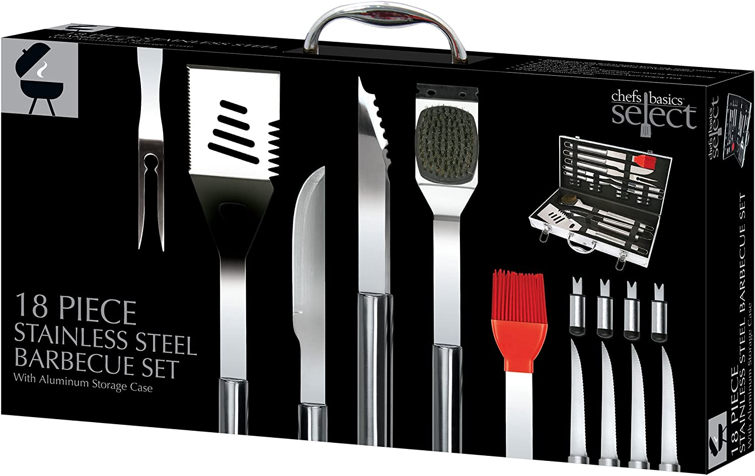 Chefs Basics HW5305 18-Piece Stainless-Steel Barbecue Grilling Tool Accessories Utensils Set with Spatula, Tongs, Forks, Brush, and Carrying Case