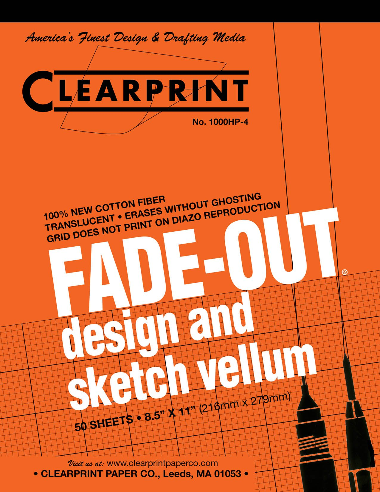 Clearprint 1000H Design Vellum Pad with Printed Fade-Out 4x4 Grid, 16 lb., 100% Cotton, 8-1/2 x 11 Inches, 50 Sheets, Translucent White (10004410)