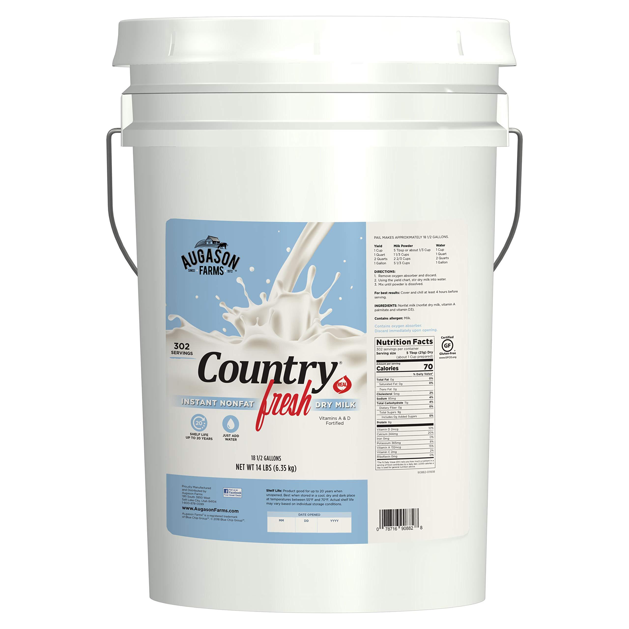 Augason Farms Country Fresh 100% Real Instant Nonfat Dry Milk Emergency Food Storage 14 Pound Pail by Augason Farms