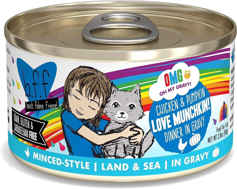 Weruva B.F.F. Omg - Best Feline Friend Oh My Gravy! Grain-Free Wet Cat Food Cans, Love Munchkin! Chicken & Pumpkin, 2.8-Ounce Can (Pack of 12)