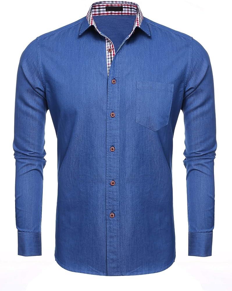 Coofandy Camisa Hombre Vaquera Azul Cuello Rayado Manga Larga con Botones S: Amazon.es: Ropa y accesorios