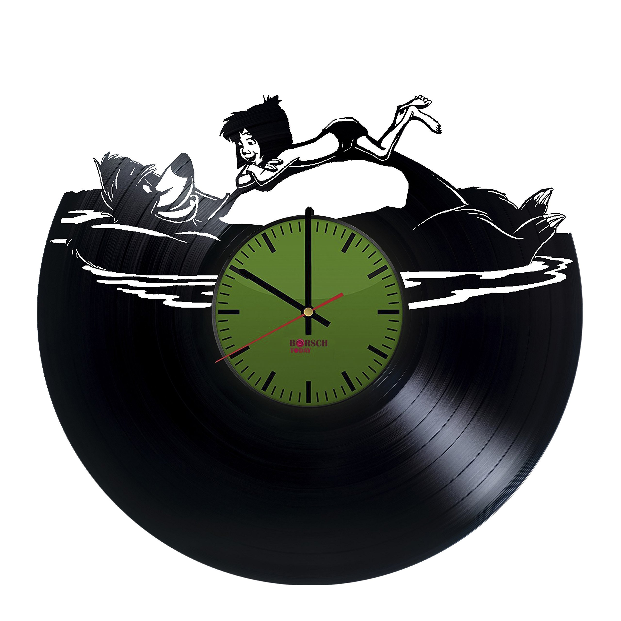 Jungle Book Handmade Vinyl Record Wall Clock - Get Unique Bedroom or Nursery Wall Decor - Gift Ideas for Kids and Youth – Movie Characters Unique Modern Art