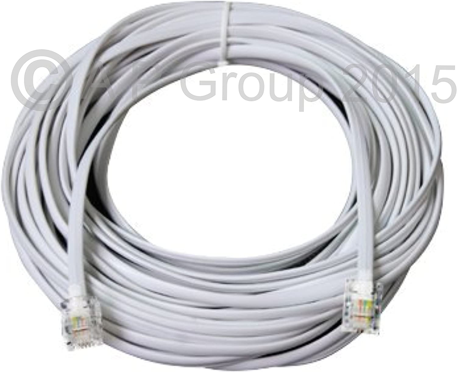 rhinocables/® RJ11 ADSL Cable Premium Quality Lead High Speed Male BT Internet Broadband Modem Router Telephone Wire 30m, White