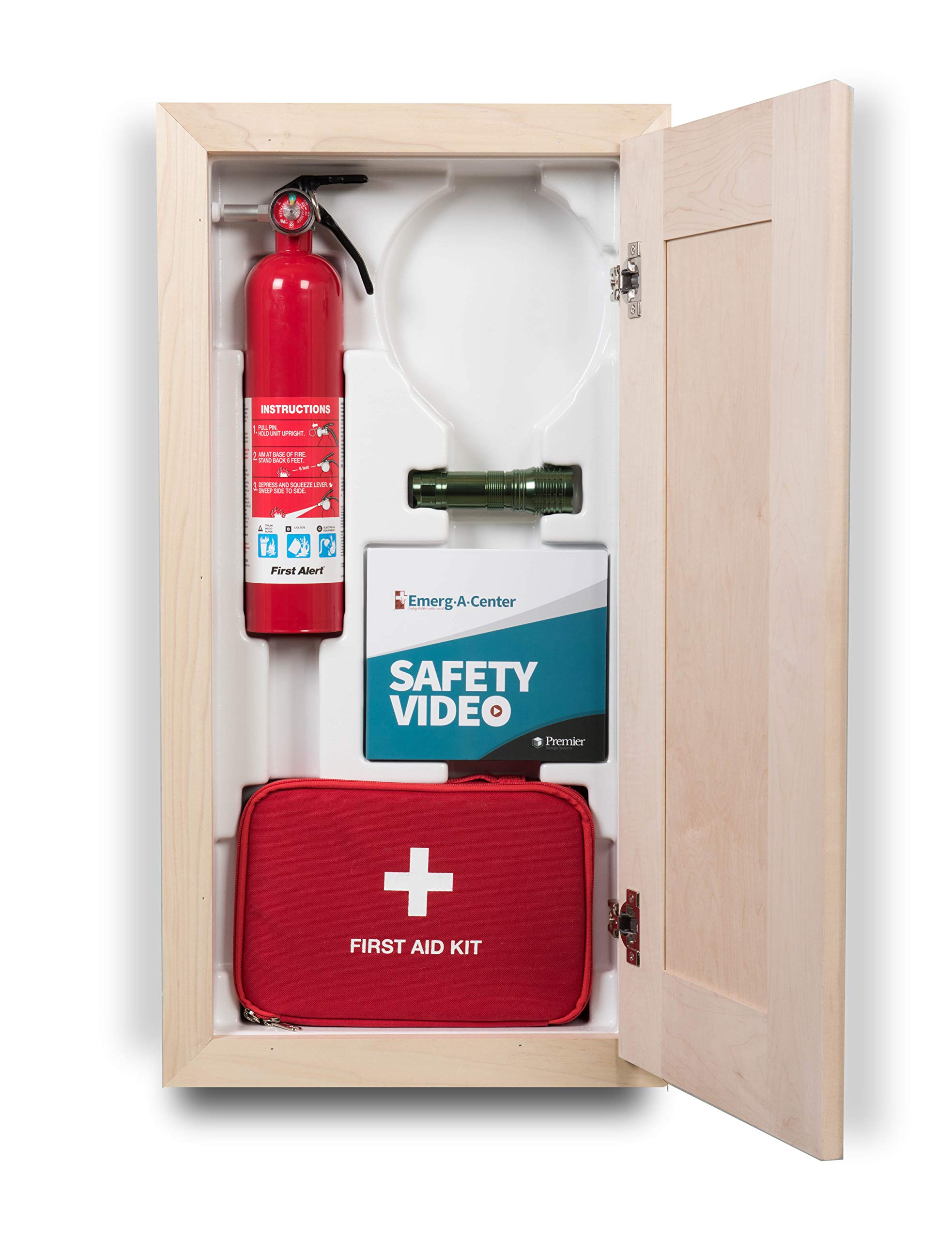 Emerg-A-Center HeartSine Cabinet, Block Trim, Raised Maple Panel Door