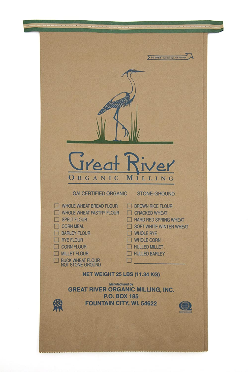 Great River Organic Milling Organic Whole Grains Hulled Barley, 25-pounds (Pack of1)