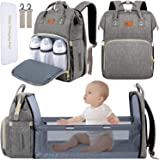 DEBUG Baby Diaper Bag Backpack with Changing Station Diaper Bags for Baby Bags for Boys Girl Diper Bag with Bassinet Bed Mat