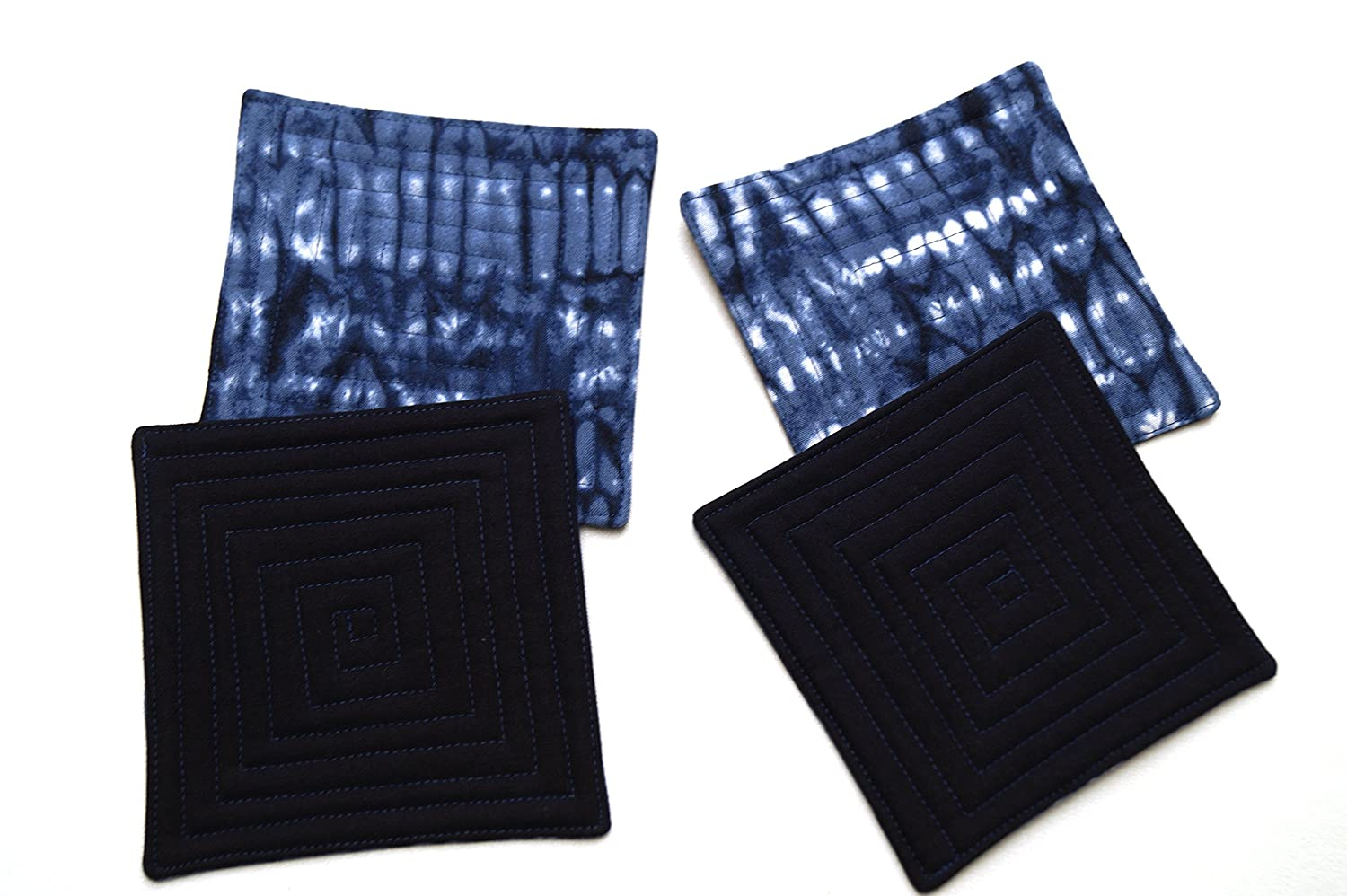 Indigo Blue Shibori Fabric Coasters Set