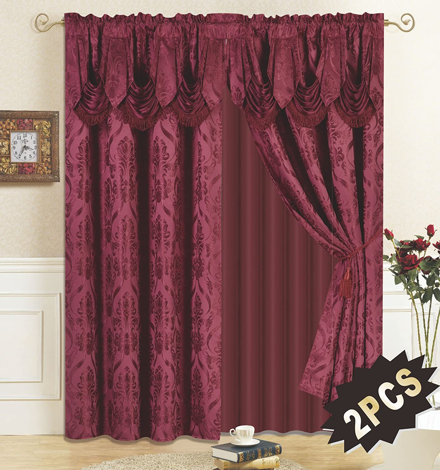 4 Piece Drape Set with Attached Valance and Sheer with 2 Tie Backs Included (Burgundy