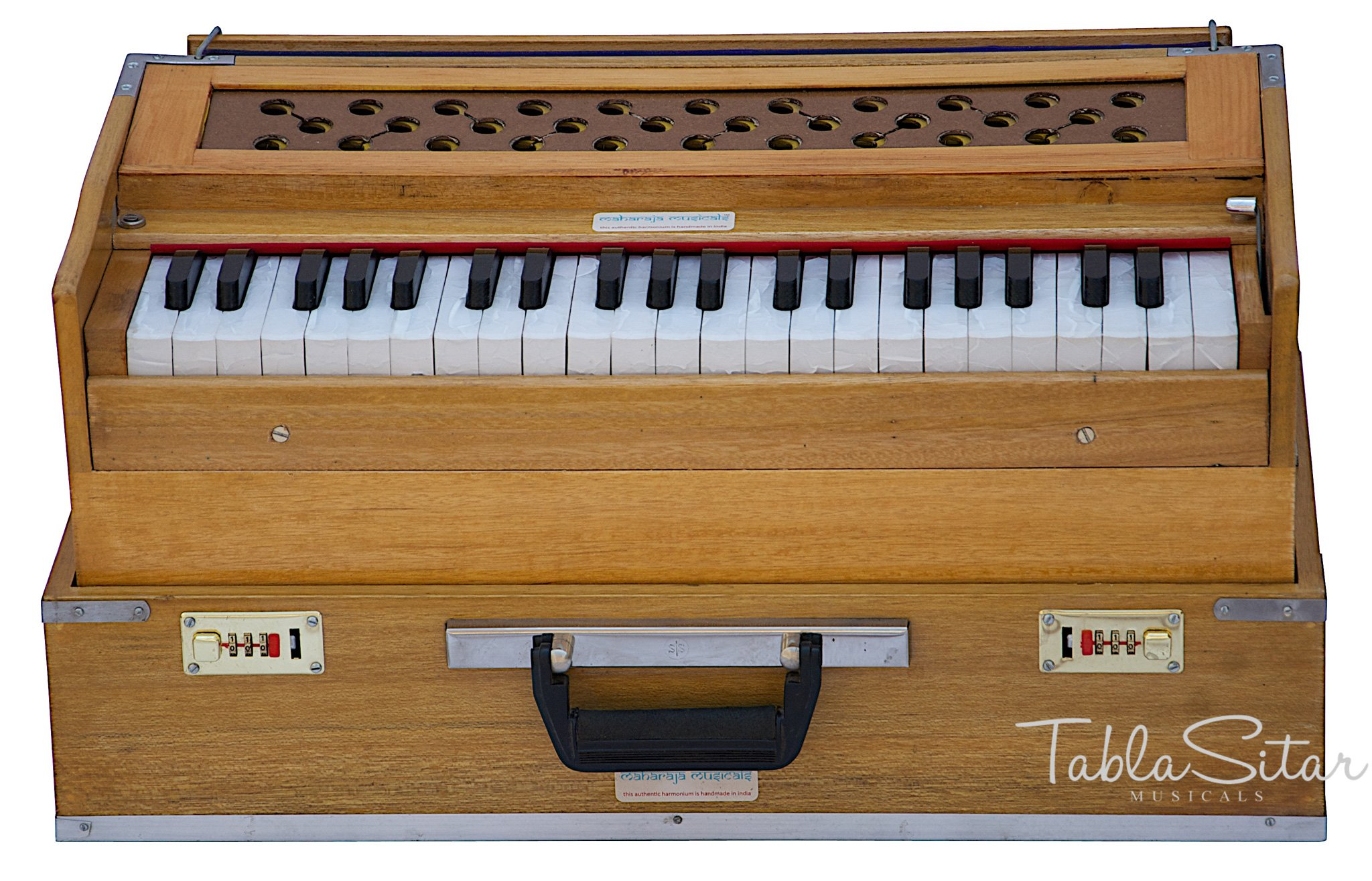 MAHARAJA Folding Harmonium No. 6000n - Buy 3½ Octave - Natural Color With Coupler, Come with Book & Bag - Tuned to A440 (PDI-BFC)
