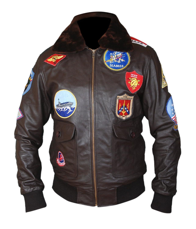 15ae3ac1d F&H Men's Top Gun Pete Maverick Tom Cruise Genuine Leather Bomber Jacket