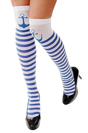 acheter en ligne nouveau sommet super populaire DRESS ME UP - W-034 Chaussettes hautes rayées bleu et blanc avec ancre  déguisement de femme marin carnaval