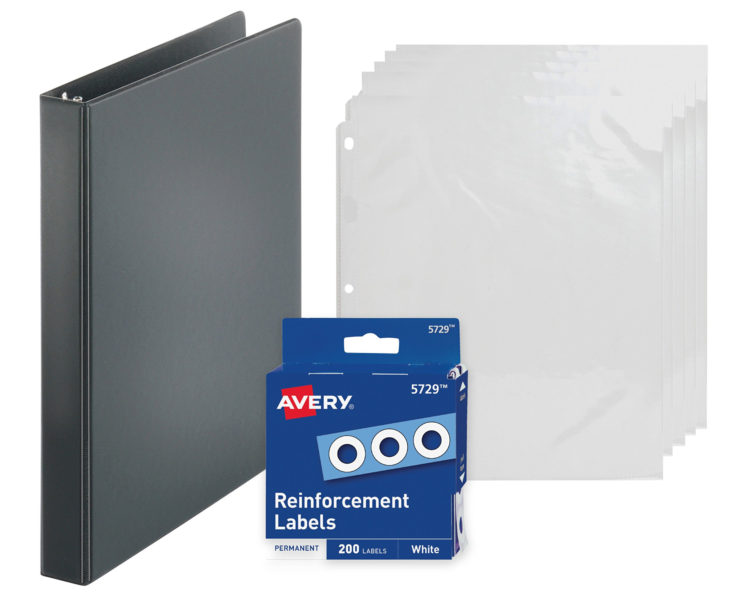 3-Ring Binder, 1 Inch, Presentation View Binder - With 20 Top-Loading Clear Sheet Protectors - With 200 White Hole Reinforcements, Hole Reinforcers for 3 Ring Binders - Value Set (Black Ring Binder)