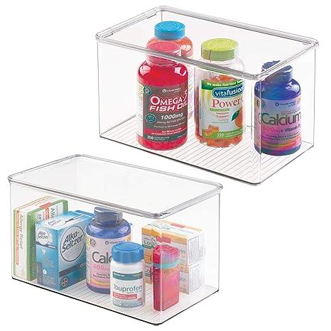 mDesign Juego de 2 cajas organizadoras extra grandes – Cajas de plástico con tapa apilables para