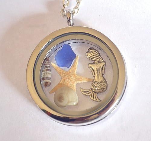 Mermaid sea glass necklace mermaid charm sea glass jewelry beach jewelry nautical jewelry