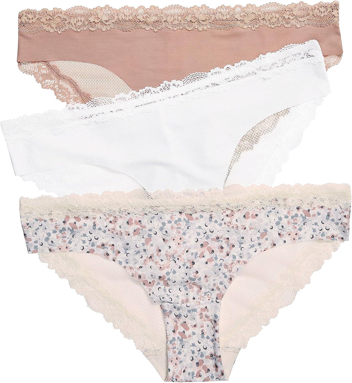 next Mujer Pack De Tres Braguitas Brasileñas Sin Costuras con Parte Trasera De Encaje Rosa/Blanco/Print EU 46 (UK 18): Amazon.es: Ropa y accesorios