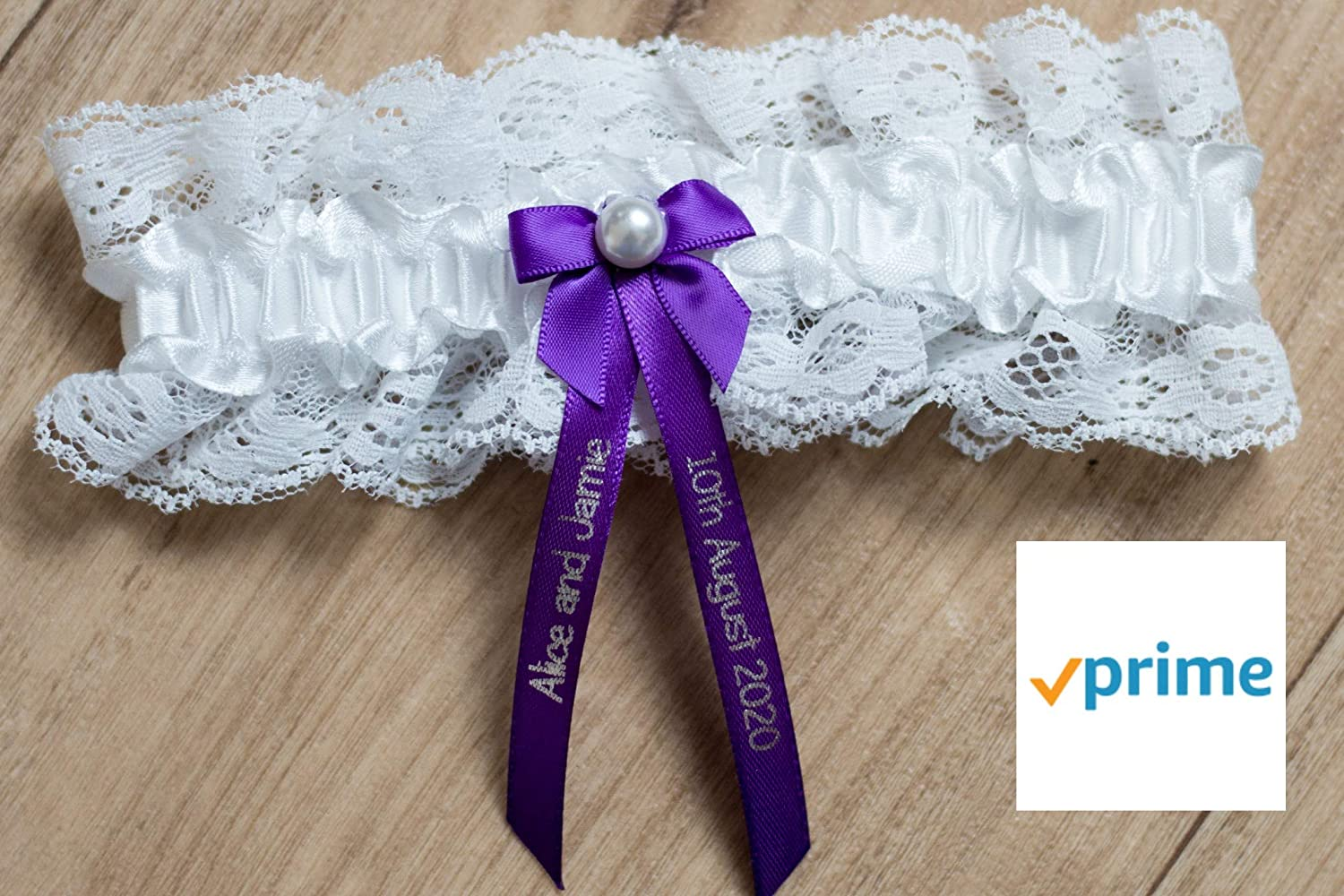 My Pretty Little Gifts Personalised Garter Perfect Hen Party or Wedding Gift Gift Boxed Ivory // Purple PRIME DELIVERY