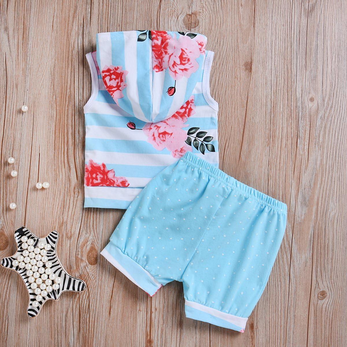 Mekilyn 2Pcs Baby Boy Girls Striped Sleeveless Hoodies T-Shirt Top+Floral Dot Short Pant Kids Playwear Outfit